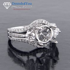E5053, Split Shank Three-Stone Halo Diamond Semi Mount Ring - Dmnds4You