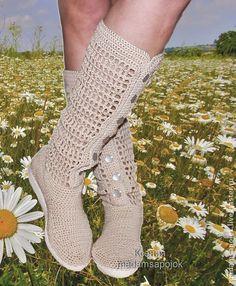 Вязаные сапоги льняные - бежевый,льняные сапоги,льняная обувь,вязаные сапожки