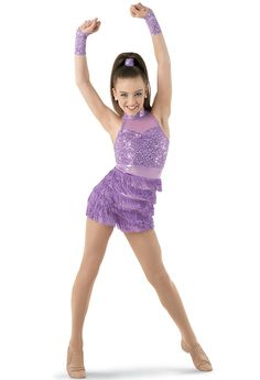 This fabulous frock features a stretch mesh and sequin spandex bodice with a premium metallic neckband and waistband. Stretch fringe covers the attached premium metallic shorts. Includes : Fabric for hair, sequin pointe mitts. Modern Dance Costume, Dance Costumes Kids, Tap Costumes, Cute Halloween Costumes, Lyrical Costumes, Jazz Dance Poses, Dance Moves, Dance Outfits, Girl Outfits