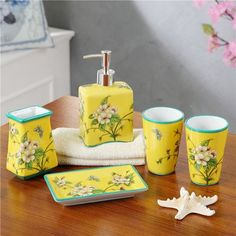 Chinese ice cracked porcelain ceramic bathroom SOAP boxed set of five or six Europeanstyle bathroom Bathroom storage with teeth washing liquid bottle Yellow Apple Blossom with five piece of cover
