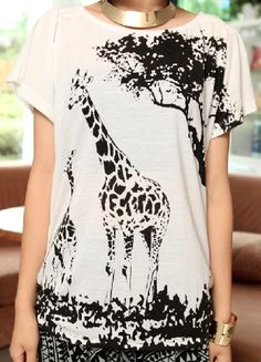 White Round Neck Short Sleeve Animal Print Loose T-Shirt, $28.52  This kind of reminds me of the old Banana Republic shirts from the 80s.