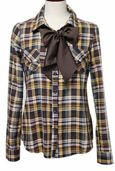 Yellow Long Sleeve Lapel Bow Plaid Blouse pictures