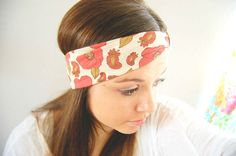 Poppy and paisley floral - coral and sage green ivory cream - wide stretch headband with knot