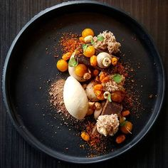 Sea Buckthorn Maple Syrup Hazelnut by Vidal Gutierrez Tag your best plating pictures with to get featured. Gourmet Desserts, Plated Desserts, Gourmet Recipes, Sweet Recipes, Cooking Recipes, Weight Watcher Desserts, Michelin Star Food, Low Carb Dessert, Weird Food