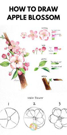 Easy Flower Drawings, Flower Art Drawing, Flower Drawing Tutorials, Flower Sketches, Floral Drawing, Pencil Art Drawings, Painting & Drawing, Easy Sketches, Some Easy Drawings