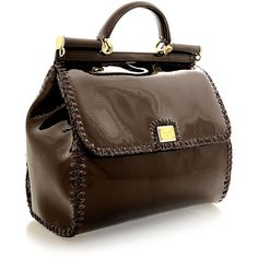 DOLCE & GABBANA Sicily Brown Patent Leather Tote ($1,695) ❤ liked on Polyvore