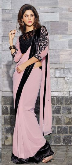 Interesting designed Pink & Black #saree #sari #blouse #indian #outfit #shaadi #bridal #fashion #style #desi #designer #wedding #gorgeous #beautiful