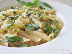 City Farmhouse: Summer Lemon Herb Zucchini Penne Alfredo
