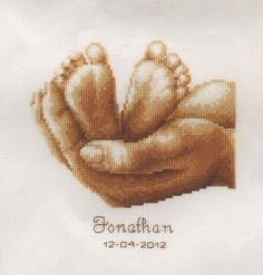 Baby Feet - A Vervaco counted cross stitch Birth Record Kit