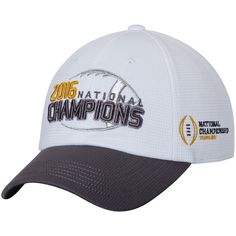 14446a2e0b1 Clemson Tigers Top of the World College Football Playoff 2016 National  Champions 2-Tone Adjustable Hat - White Gray