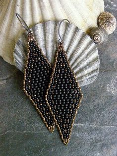 Petite Black Elegancy Diamond Shaped Beaded Earrings by ariearts, $54.00