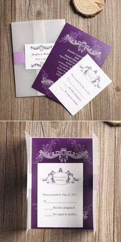 Cheap Purple Vellum Paper Pocket Wedding Invitations