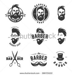 Set of vintage barber shop emblems, labels, badges and design elements. Monochrome male faces. Vintage vector illustration.