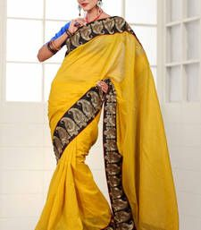 Buy Yellow Designer Banarasi saree with blouse banarasi-silk-saree online