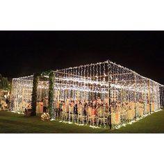 Twinkle lights on an open canopy