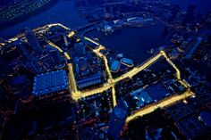 F1 Singapore Grand Prix - Overview of the heartpounding Marina Bay race circuit at night