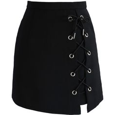 Chicwish Stylish Tie Bud Skirt in Black (€34) ❤ liked on Polyvore featuring skirts, mini skirts, bottoms, saias, black, mini skirt, chicwish skirt, short mini skirts, tie skirt and short skirts