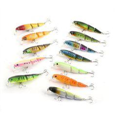 HENGJIA 12pcs Three Sections Artificial Fishing Bait Lure