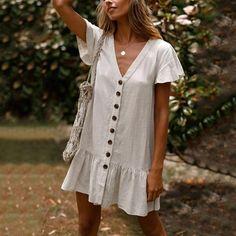 Lulunina Simple Falbala Hem V-Neck Mini Dress Linen Dresses, Casual Dresses, Fashion Dresses, Elegant Dresses, Pretty Dresses, Sexy Dresses, Formal Dresses, Dresses Dresses, Fall Dresses