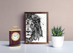 Printable Black and White Watercolor Half Faced Lion, Gray scale Animal art, Monochrome Lion Poster, Art gift for new home, Gift under 15 Watercolor Paintings Of Animals, Dog Paintings, Lion Poster, Drip Painting, New Home Gifts, Contemporary Artists, Monochrome, Scale, Printable