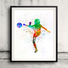 Woman soccer player 17 in watercolor - Fine Art Print Glicee Poster Home Watercolor sports Gift Room Illustration Wall - SKU 2329 by Paulrommer on Etsy
