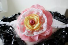 easter spring flower headband yellow and Coral Lace Rose Headband by SugarDivasDesigns on Etsy, $13.00