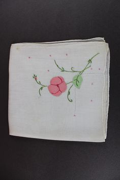 Pretty Pink Appliqued Vintage Handkerchief H 117 by EBMNewhaven on Etsy