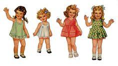 Four little paper dolls