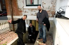 Ghost Adventures: Zak, looking like he is about to sing opera, with Nick and Aaron at the Kentucky slave house.