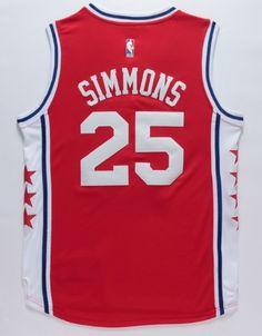 Ben Simmons 25 Philadelphia 76ers Jersey Basketball Swingman Throwback Red Sewn - Basketball-NBA
