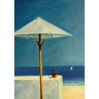 Cuadros modernos, marinas, Sombrilla en la playa, sunny day in the beach. Mediterranean
