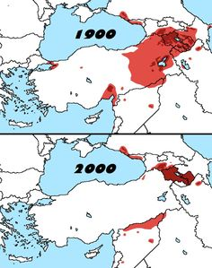 Distribution of Armenians in 1900 and 2000.