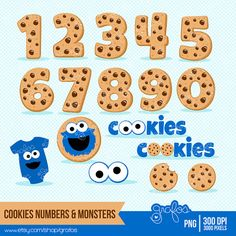 COOKIES NUMBERS & MONSTERS  Digital Clipart  Cookie por grafos