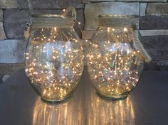 I made these outdoor lanterns with glass lanterns from Kirklands and starry string lights. We are hanging them on the patio to go with our festoon lights.