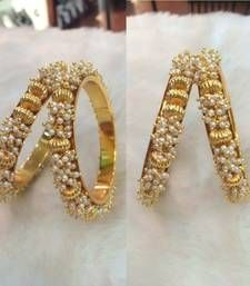 Buy classy gold plated pearls bangle bangles-and-bracelet online