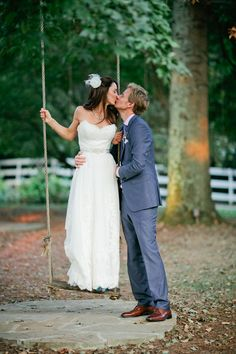 This is such a cute #wedding photo...love the swing idea! From http://weddingchicks.com/2014/01/01/lavender-wedding-2/  Photo Credit: http://kristynhogan.com/