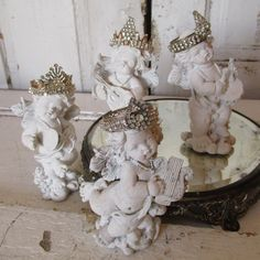 Cherub statue set with hand made crowns French by AnitaSperoDesign, $197.00