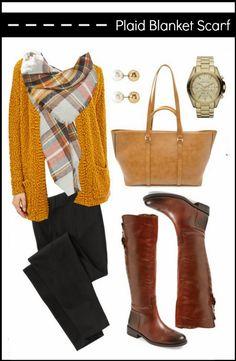yellow cardigan + plaid scarf + boots / because shanna said so