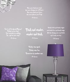 Set of 5 DR. Seuss Quotes Wall DECAL The more that you read think and wonder Phrase Vinyl sticker education book library classroom