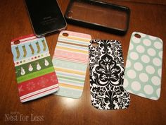 DIY interchangeable phone covers using a clear iPhone case and scrapbook paper. LOVE!  Would also be a great gift for someone, whatever phone they have, as long as a clear case is available. Christmas is coming ;)