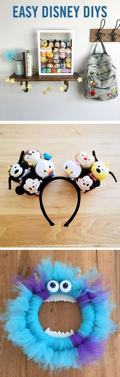 Easy DIYs That Your Kids Will Go Nuts Over These Disney DIYs are perfect fun for the whole family. From Tsum Tsum Shadow Boxes and DIY Mickey Ears to your own Sulley from Monsters, Inc. Disney Diy, Deco Disney, Disney Mouse, Disney Tsum Tsum, Disney Ears, Disney Crafts, Cute Disney, Disney Dream, Disney Trips
