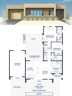 This modern small house plan offers one bedroom, one bath, a spacious open-concept great room, large kitchen, and a front courtyard. 2 Bedroom House Plans, Dream House Plans, House Floor Plans, Small Modern House Plans, Modern House Design, Custom Home Plans, Home Design Plans, Casa Patio, Casas Containers