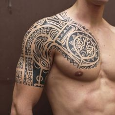 Cool Chest, Shoulder and Upper Arm Tribal Tattoo Designs - Best Tribal Tattoos F. - Cool Chest, Shoulder and Upper Arm Tribal Tattoo Designs – Best Tribal Tattoos For Men – Cool T - Tribal Tattoo Designs, Upper Arm Tattoos Designs, Tribal Chest Tattoos, Tribal Tattoos For Men, Tatoos Men, Guy Tattoos, Celtic Tattoos, Star Tattoos, Cool Shoulder Tattoos