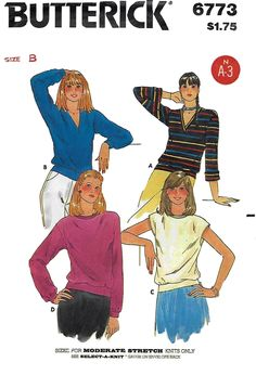 Butterick 6773 Misses' 70s V Neck Stretch Knit Top Sewing Pattern Size 12 to 20, Bust 34 to 42 by Denisecraft on Etsy