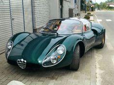 luxury cars 1968 Alfa Romeo 33 Stradale - and as with all Alfas, it looks even more smashing in dark green. Auto Design, Design Autos, Bike Design, Maserati, Ferrari, Lamborghini, Bugatti, Classic Sports Cars, Classic Cars