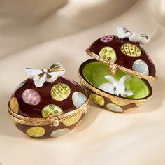 Limoges chocolate egg with white rabbit insidebox