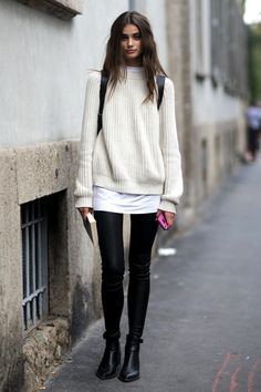 Modelìs Style - #womeswear #sweater #white #fall #winter #black #lkeather #pants #boots #black #outfit #chelsea #boots