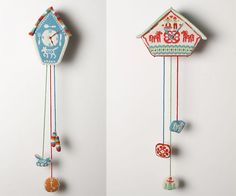 Knitted cuckoo clocks by Andrea Williamson