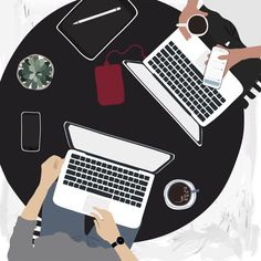 People working on laptops in a cafe Stock Photo , Free Vector Illustration, Free Illustrations, Illustration Art, Vector Can, Vector Free, Use E Abuse, Mode Shop, Vector Design, Free Design
