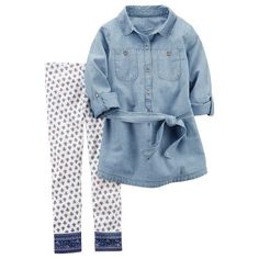 Girls 4-8 Carter's Chambray Tunic & Leggings Set, Size: 6X, Blue Other